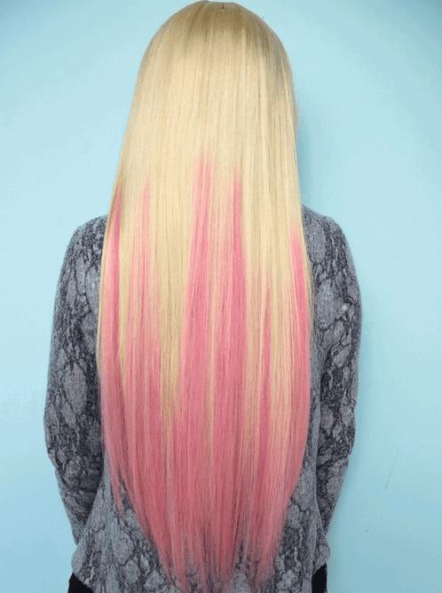 Extensiones color rosadas para el pelo