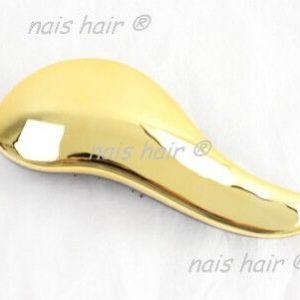cepillo para extensiones peine oro metalico