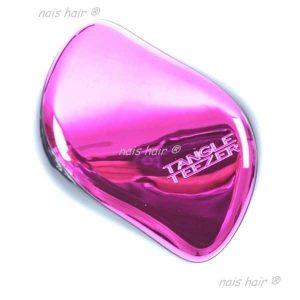 cepillo peine para extensiones de pelo antitirones rosa metalico