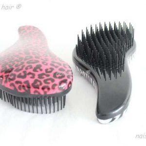 cepillo para extensiones peine leopardo rosa
