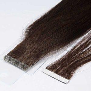 extensiones de pelo adhesivas color castaño oscuro