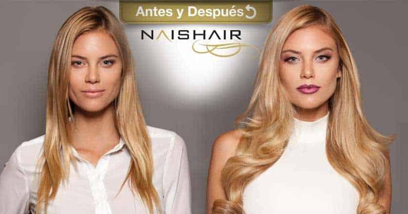 antes y después extensiones naishair rubio
