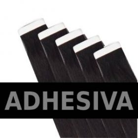 pelo virgen adhesivo muestra