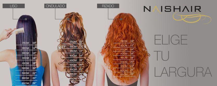 largo de las extensiones de pelo naishair