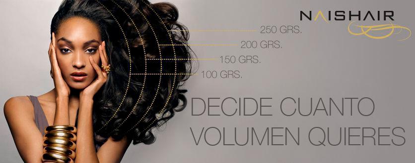 volumen de las extensiones de pelo